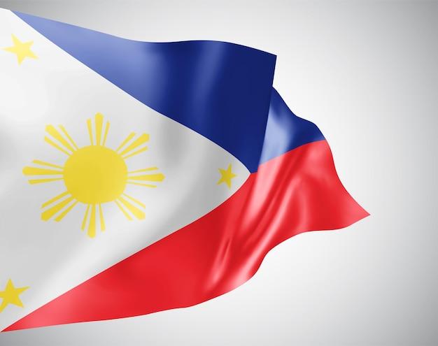 フィリピン、白い背景の上の風に手を振る波と曲がりのベクトルフラグ。