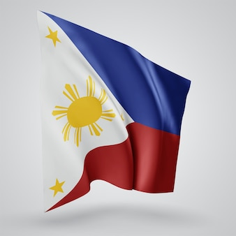 Philippines, vector flag with waves and bends waving in the wind on a white background.