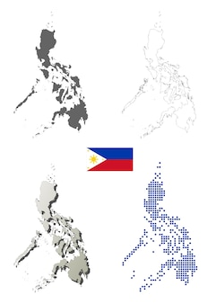 Philippines vector outline map set
