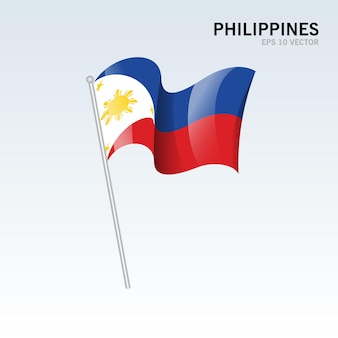 Philippines waving flag isolated on gray