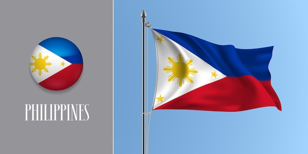 Филиппины развевающийся флаг на флагштоке и круглый значок. реалистичные 3d белый красный флаг пилипино и круглая кнопка
