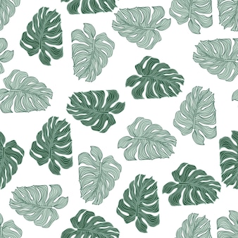 Philodendron plant tropical leaves silhouette seamless pattern. wallpaper with green monstera leaf isolated on white background. exotic backdrop. vector design for fabric, textile print, wrapping