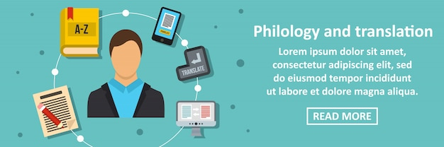 Philology and translation banner horizontal concept