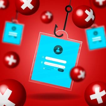 Illustrazione di concetto di account di phishing