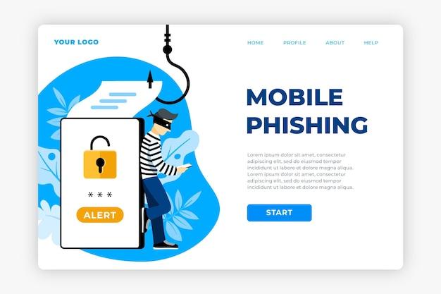 Pagina di destinazione dell'account di phishing