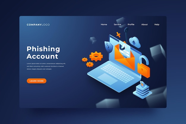 Phishing account landing page