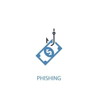 피싱 개념 2 색 아이콘입니다. 간단한 파란색 요소 그림입니다. 피싱 개념 기호 디자인입니다. 웹 및 모바일 ui/ux에 사용 가능