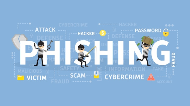 피싱 개념 그림 사이버 범죄 및 사기에 대한 아이디어.