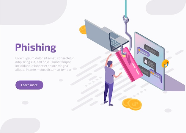 Phishing isometric landing page or web banner. fishing hook catch credit card.