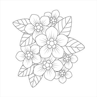 塗り絵のフロックスの花