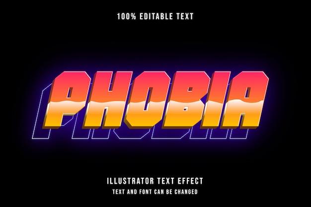 Фобия, 3d редактируемый текстовый эффект, красная градация, желтый рисунок, современная тень, стиль неон