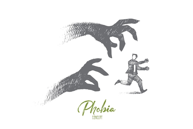 Phobia concept illustration