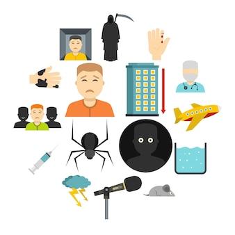 Phobia symbols icons set in flat style