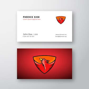 Phoenix abstract logo and business card template.