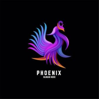 Феникс птица градиент красочный дизайн логотипа