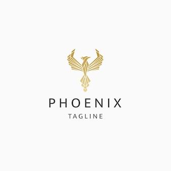 Феникс птица логотип значок дизайн шаблона плоский вектор