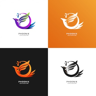 Phoenix bird logo template with gradient color