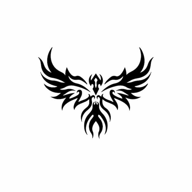 Птица феникс логотип племенных тату дизайн трафарет векторные иллюстрации