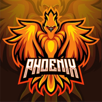 Phoenix bird mascot esport logo design
