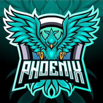 フェニックスの鳥のマスコット。 eスポーツロゴ
