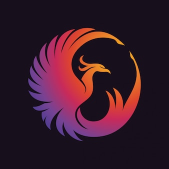 Phoenix color logo Premium Vector