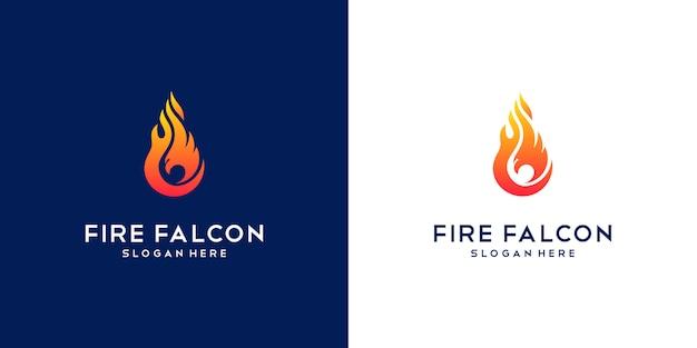 Сокол огненный логотип. минимальный плоский дизайн компании phoenix, eagle and hawk.