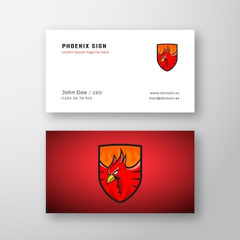Phoenix emblem abstract vector logo and business card template