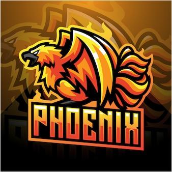 Дизайн логотипа талисмана phoenix esport