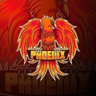 Phoenix esport талисман дизайн логотипа
