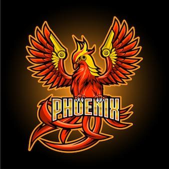 Феникс эспорт талисман дизайн логотипа