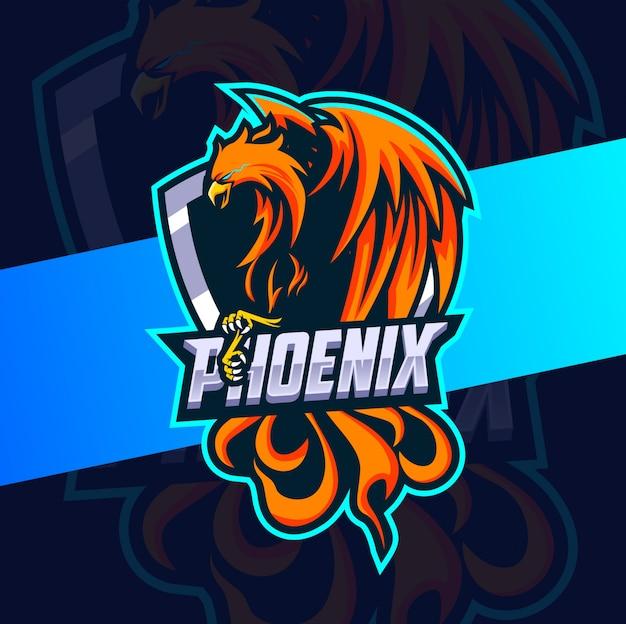 Феникс огненный талисман киберспорт дизайн логотипа