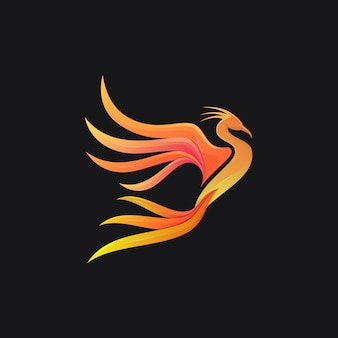 Phoenix gradient colorful modern bird logo illustration