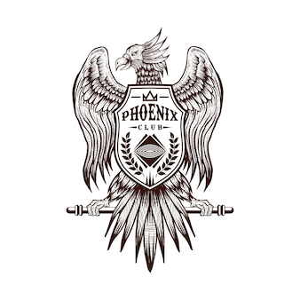 Phoenix hand draw club vector illustration