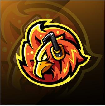 Логотип киберспортивной головы феникса с наушниками