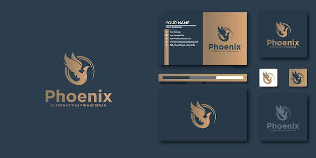 Phoenix letter template with modern concept and business card design