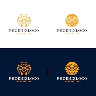 Концепция дизайна логотипа и значка феникс.
