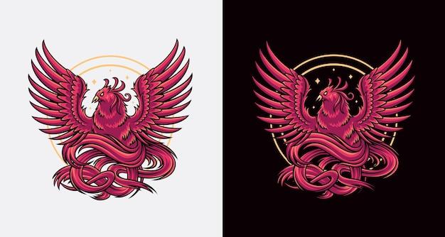 Феникс логотип дизайн иллюстрация