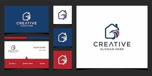 Дизайн логотипа феникс с шаблоном визитной карточки