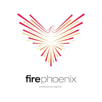 Phoenix logo design with fireworks