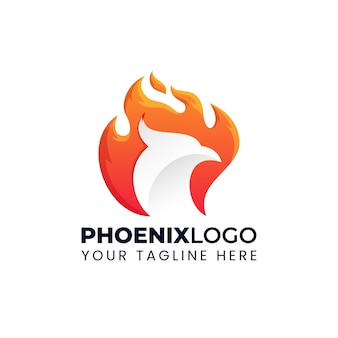 Phoenix  logo illustration with flaming fire gradient colorful style