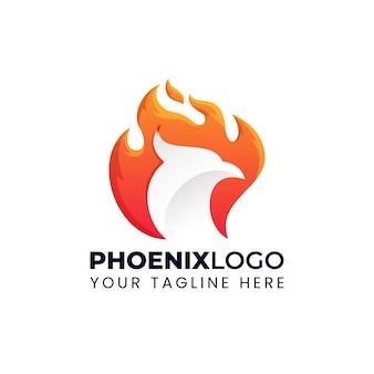 Иллюстрация логотипа феникс с пылающим огненным градиентом красочный стиль