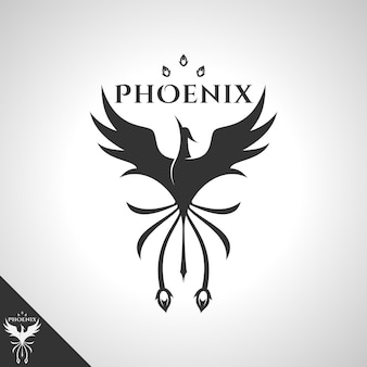 勇敢な鳥のロゴの概念を持つフェニックスのロゴ