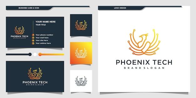 Логотип phoenix с концепцией технологической линии и визитной карточкой premium vecto