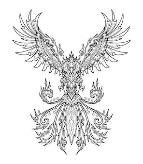 Phoenix mandala design for coloring book or t shirt design print