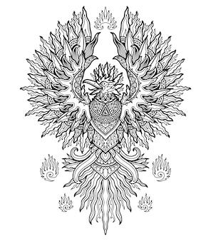 塗り絵やtシャツのデザインプリントのためのフェニックス曼荼羅デザイン