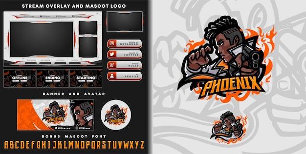 Phoenix mascot logo and twitch overlay template