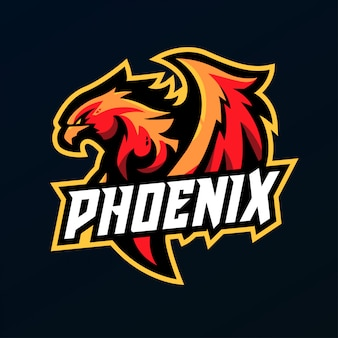 Phoenix mascot for sports and esports logo isolated on dark background