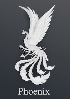 Phoenix paper cut style on black background