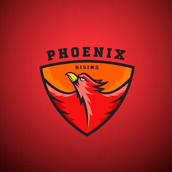 Phoenix rising   logo template. flying fire bird illustration in a shield. perfect for sport team emblems, league labels, etc.