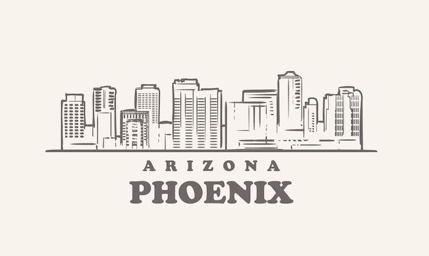 Феникс - линия горизонта, аризона Premium векторы